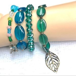 Bundle lot bracelets blue green silver leaf tree